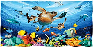 Dawhud Direct Journey of The Sea Turtles Cotton Beach Towel