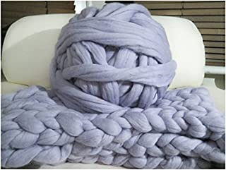 HomeModa Studio Non-Mulesed Chunky Wool Yarn Big Chunky Yarn Massive Yarn Extreme Arm Knitting Giant Chunky Knit Blankets Throws Grey White (1kg-2.2lbs, Grey)