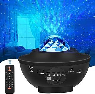WiFi LED Stjärnljusprojektor Alexa, LED-Projektor med Stjärnhimmel Havsvåg Nattlampor med Bluetooth Musikhögtalare, Fjärrk...