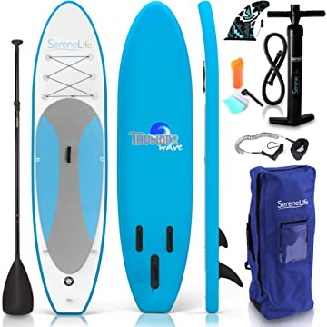 SereneLife Inflatable Stand Up Paddle Board (6″ Thick) Universal SUP Wide Stance with Bottom Fin