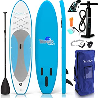 SereneLife Premium Inflatable Stand Up Paddle Board (6 Inches Thick) with SUP Accessories & Carry Bag   Wide Stance, Botto...