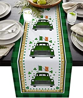 St Patrick's Day Green Truck Table Runner for Farmhouse Holiday Parties, Burlap Table Runner Dresser Scarves Irish Flag Bu...