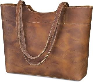 S-ZONE Damen Handtasche Vintage Echtleder Große Tote Bag Schultertasche Einkaufstasche Reisetasche Datierungstasche Henkeltasche mit Reißverschlusstasche hinten