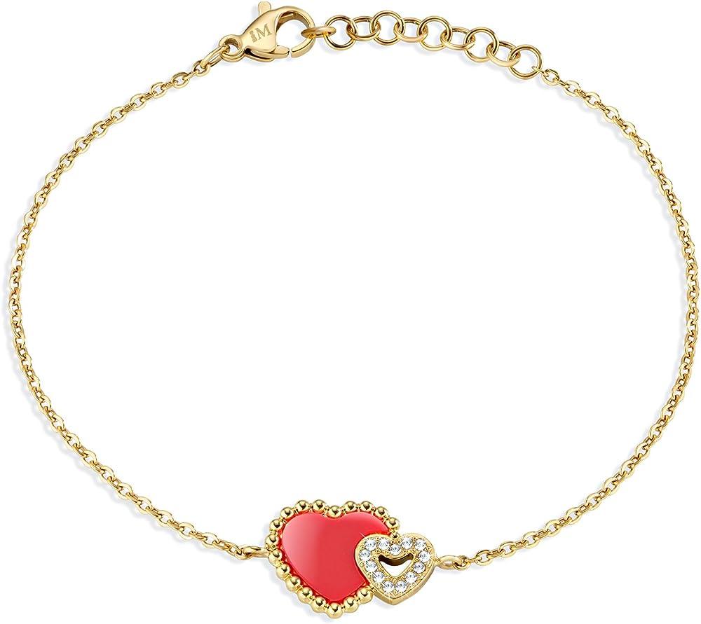 Morellato braccialetto per donna sempre insieme red coral in acciaio pvd oro giallo SAGF08