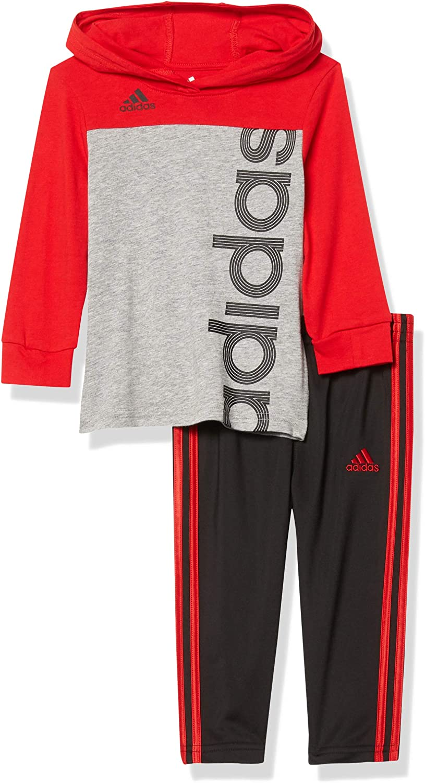 adidas baby-boys Li'l Sport Long Sleeve Tee & Jogger Clothing Set