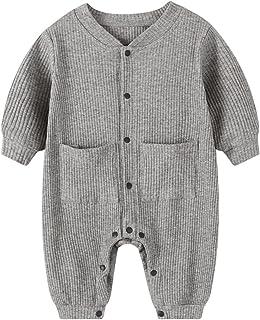 مولود جديد طفل صبي بنت صلب رومبير للجنسين الرضع قطن زر حللا ملابس (Color : Gray, Size : 73CM)
