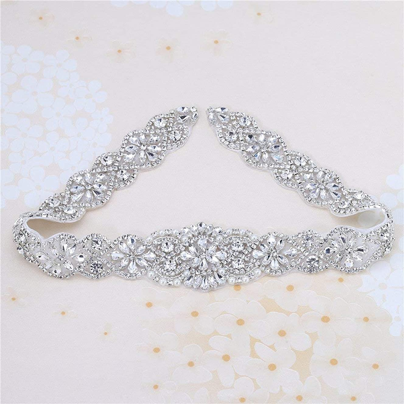 Bridal Rhinestone Appliques, FANGZHIDI 23.4 Inches Silver Beaded Patches with Sparkle Clear Crystal Stone and Pearls- Best for DIY on Wedding Dress, Sew on or Iron on Bridal Belt Sash, Wedding Cake