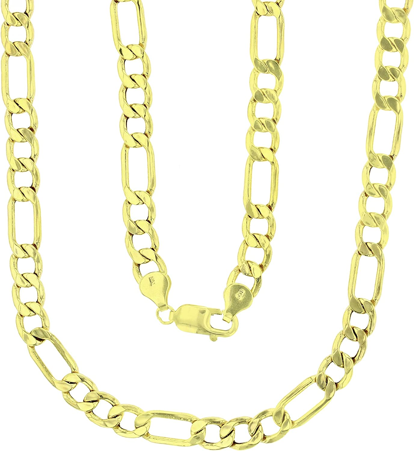 14k Yellow Gold Hollow 2mm-9mm ランキングTOP5 Figaro Chain with Cl 在庫一掃売り切りセール Lobster Claw