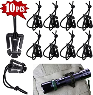 Tragoods 10 PCS Advanced Tactical Attachments Gear Clip Molle Web Dominators Elastic String for Outdoor Hydration Tube Backpack Bag Straps Management