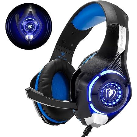 Cuffie Gaming con Microfono Cuffie Bass Stereo per PS4 PS5 Cuffie Xbox One Cancellazione del Rumore Controllo Volume per PC Mac Tablet, Nero/Blu