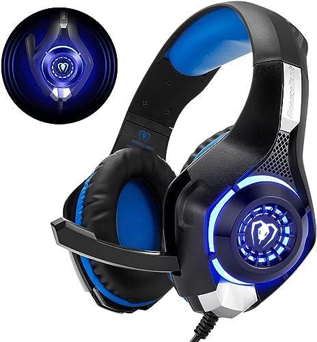 Beexcellent GM-1 Casque Gaming PS4, Casque Gamer avec Micro Premium Anti Bruit Audio Stéréo Basse avec LED Lampe Jeux...