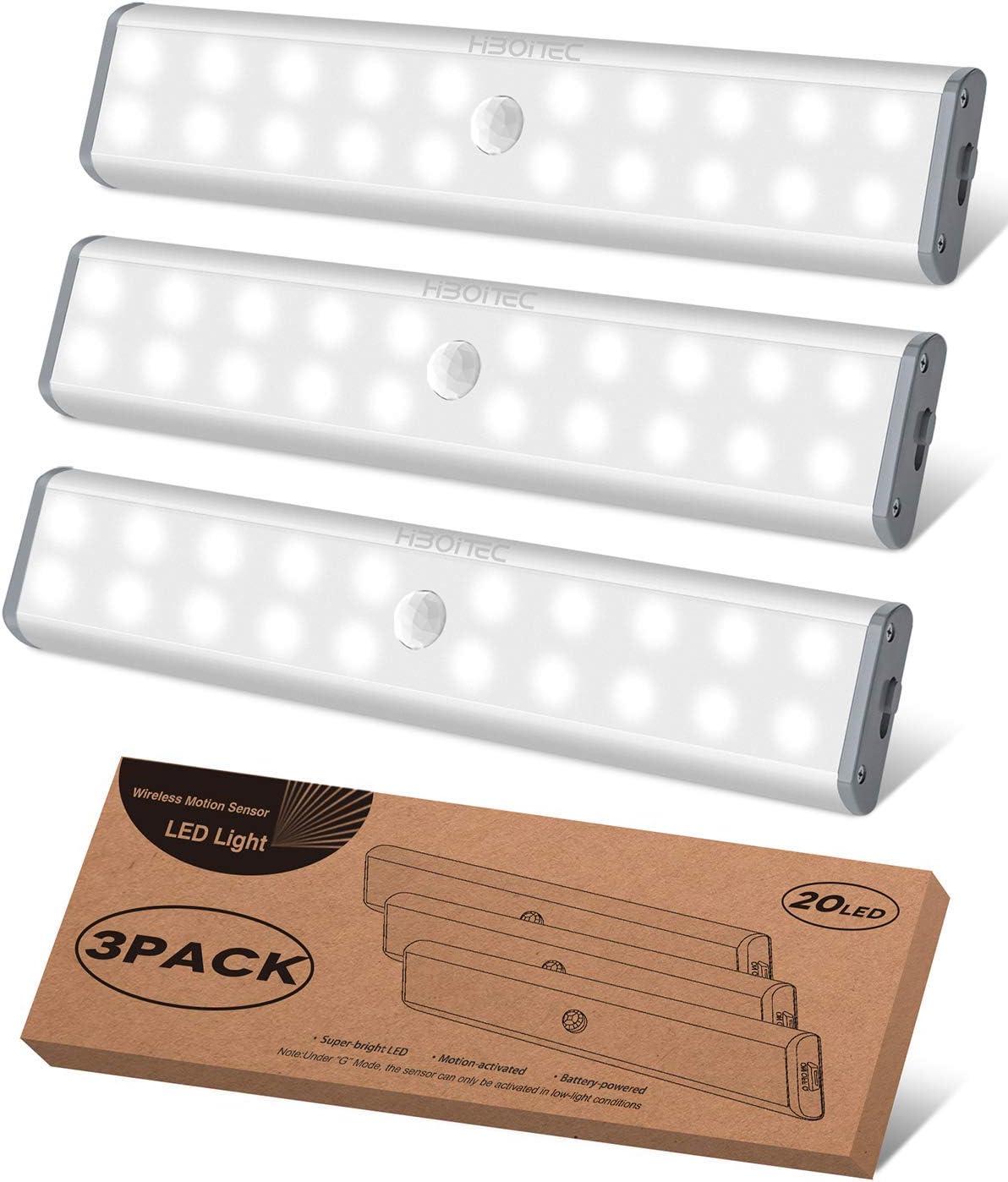 Under Cabinet Lighting Closet Light 20 LEDs 3 Packs, Wireless Rechargeable Cabinet Lights, Magnetic Under Counter Lighting, LED Motion Sensor Night Light for Closet Cabinet Wardrobe Stairs (White)