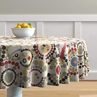 Roostery Round Tablecloth, Desert Palette Walkabout Dreamtime Indigenous Australians Pointillism Aboriginal Art Map Route Print, Cotton Sateen Tablecloth, 70in