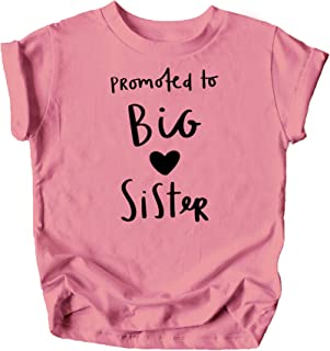 Olive Loves Apple Promoted to Big Sister Heart Sibling Reveal Announcement T-Shirt for Baby and Toddler Girls Sibling Outfits