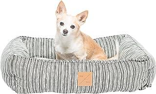 MOG & BONE Bolster Dog Bed Oatmeal Stripe Print Large