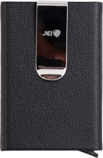 JEI Front Pocket Credit Card Holder Wallet, Minimal Wallet with Money Clip, Card Holder Wallet for Men and Women (Black)