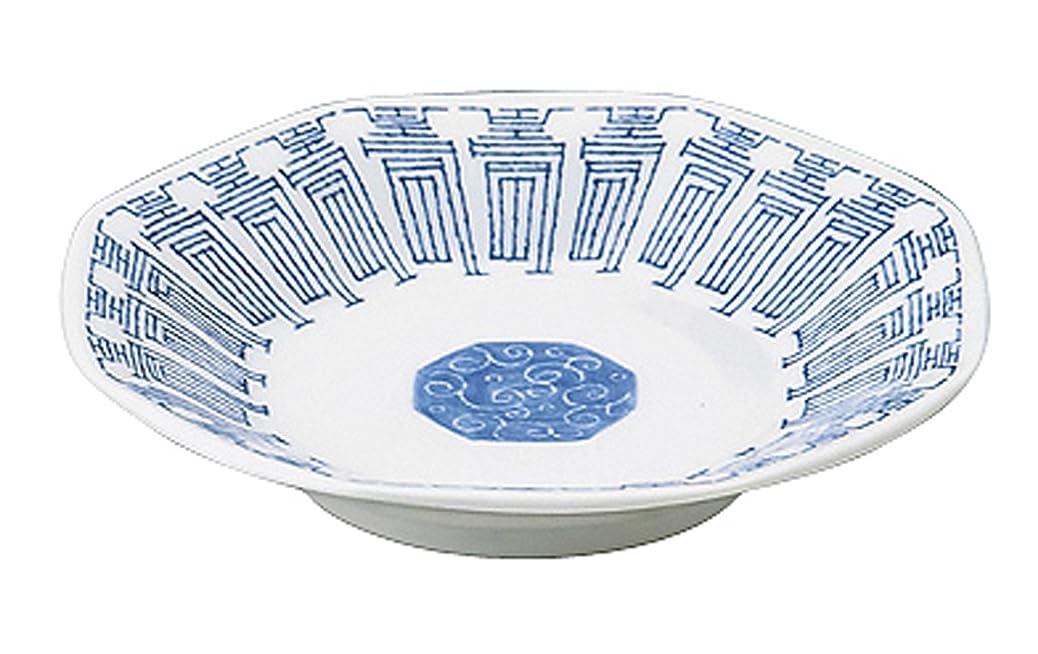 ちなみに蚊夕暮れカネ定製陶 中華青壽 八角シューマイ皿