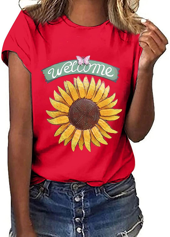 RKSTN Summer Tops for Women Daisy Print T-Shirts Sunflower Many popular brands Portland Mall Crew