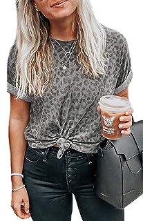 BTFBM Women Fashion Leopard Short Sleeve T Shirt Casual Crew Neck Pattern Print Soft Lightweight Tops Blouse Pullover