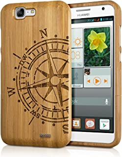 kwmobile Huawei Ascend G7 Bamboo Wood Case - Natural Solid Hard Wooden Protective Cover for Huawei Ascend G7