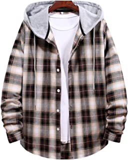 Men's Casual Plaid Hoodie Shirts, Button Closure Long Sleeve Color Block Checkered Pattern Drawstring Casual Tops