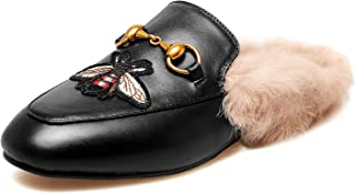 Mules for Women, Women Leather Slip on Mule Flats, Embroidery Backless Loafers Slippers Shoes