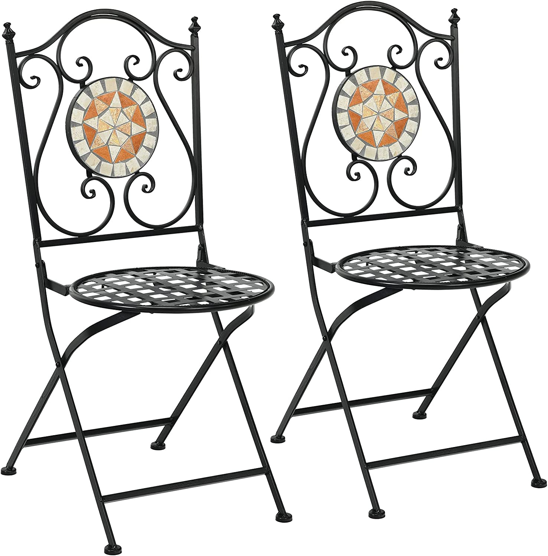 COSTWAY Juego de 2 Sillas de Mosaico Silla de Metal con Respaldo y Estructura de Hierro Taburete Retro para Jardín Terraza Balcón Patio