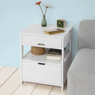 SoBuy Bedside Table with 2 Drawers, Side Table, Night Table, Stand Lamp Table, End Table, White, FRG258-W