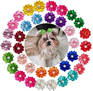yagopet 40pcs/Pack 20pairs Cute New Dog Hair Bows with Rubber Bands Pearls Flowers Topknot Mix Styles Dog Bows Dog Flower Pet Grooming Products Dog Headdress Topknot