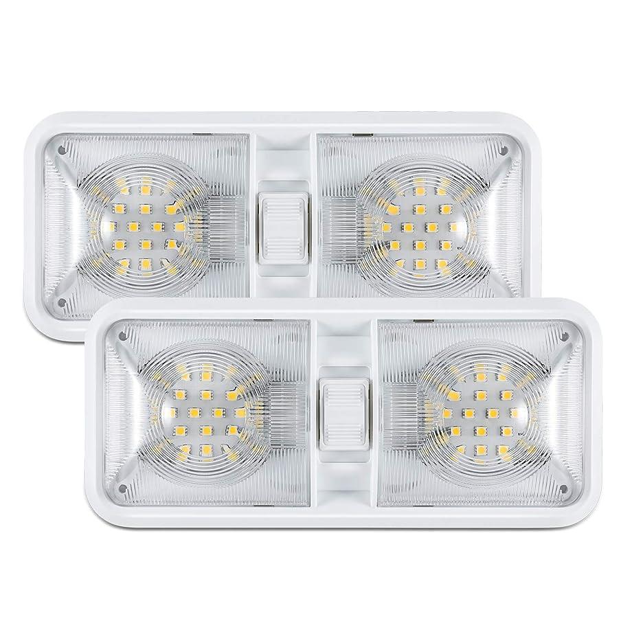 Kohree 12V Led RV Ceiling Dome Light RV Interior Lighting for Trailer Camper with Switch, White(Pack of 2)