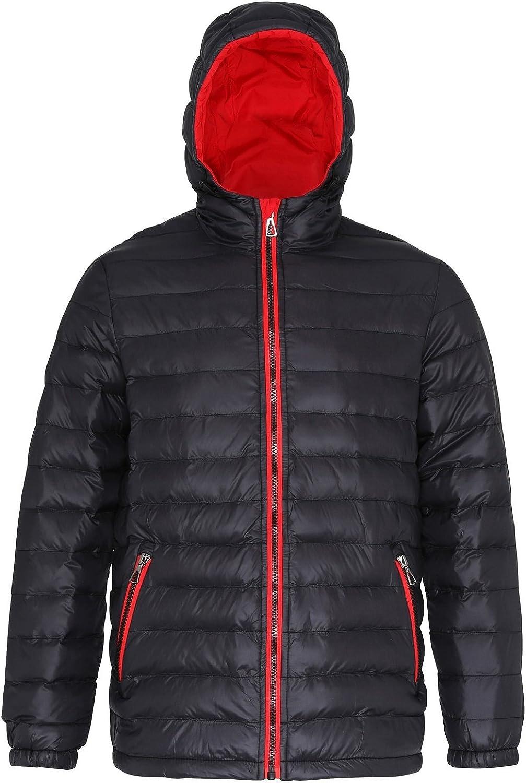 2786 Mens Hooded Water & Wind Resistant Padded Jacket (XL) (Black/Red)