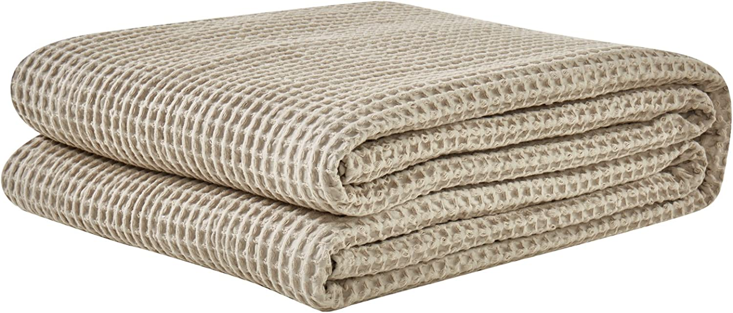 PHF Cotton Waffle Weave Bed Blanket Lightweight and Breathable Perfect for Bed Home Decor King Size Dark Khaki