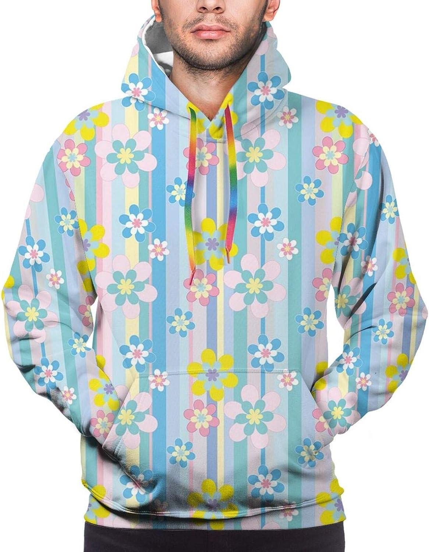 Men's Hoodies Sweatshirts,Abstract Spring Growth in Retro Colors Feminine Peony Pattern Design Seasonal Nature