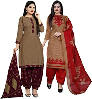 Rajnandini Women's Brown Cotton Printed Unstitched Salwar Suit Material (Combo Of 2) (Free Size)