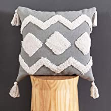 HMKEY TOYS Tufted Throw Pillow Cover White Wave & Diamond Woven Tassels Cushion Cover Bohemian Decorative Pillow Case for Home Sofa Couch Bedroom Living Room(Grey,18 X 18 inch)