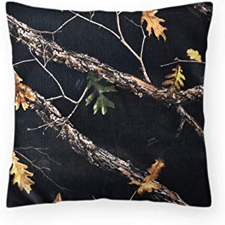 HYOUT Camouflage Linen Throw Pillow Cases Decorative 18x18 Cushion Pillow Covers Army Hunting Forest Square Pillowcase