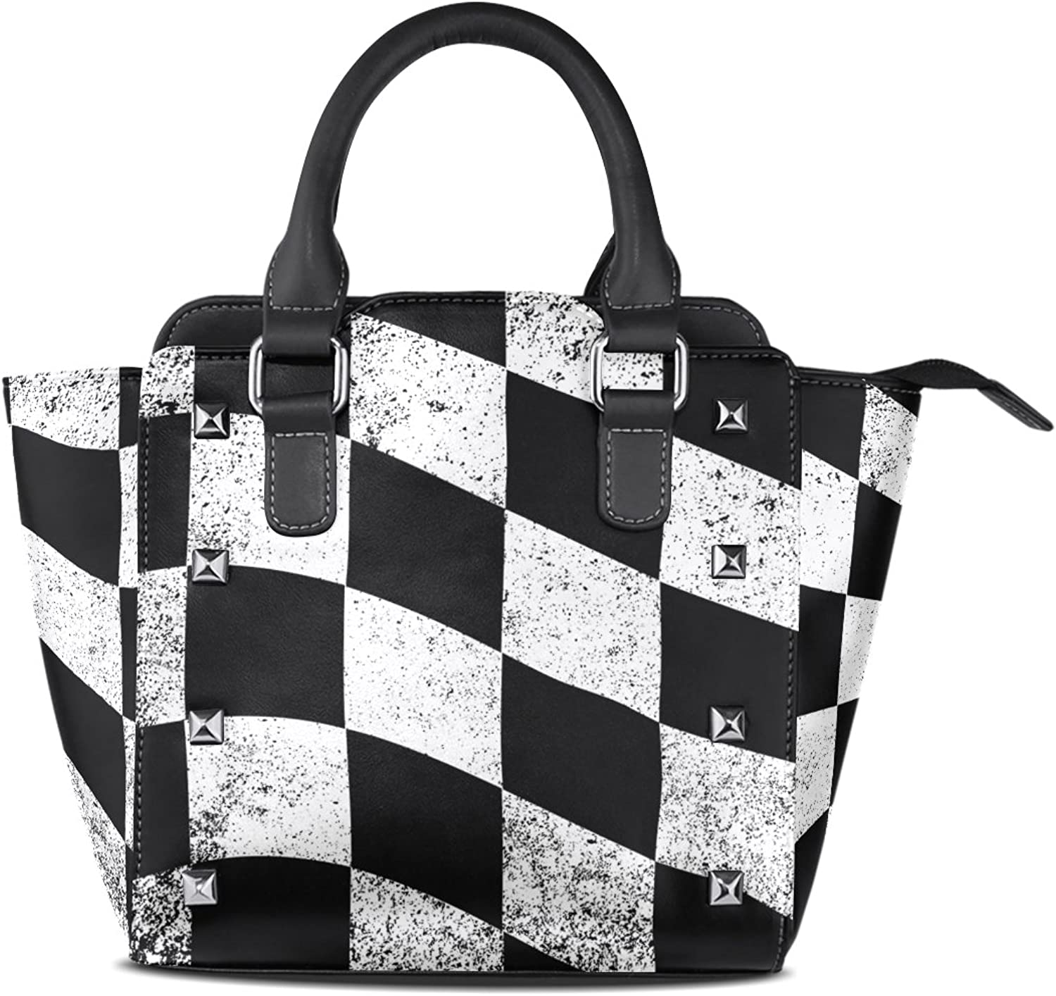 Sunlome Dirty Chequered Flag Black White Checked Print Handbags Women's PU Leather Top-Handle Shoulder Bags
