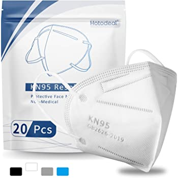 KN95 Face Mask 20 Pcs, Filter Efficiency≥95%, 5 Layers Cup Dust Mask, Protection Masks Against PM2.5 from Forest fire Smoke, Dust, for Adult, Men, Women, Healthcare Worker, Essential Workers(White)