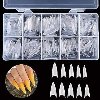 AORAEM Nail Tips Natural Nail shape Tips Full Long Cover Sharp Nail of 10 Sizes for Nail Art Salons and Home DIY (Stiletto-Natural)