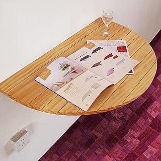 ZJM 半円形の木の壁のテーブルの壁は、ドロップリーフのテーブルの折りたたみキッチンダイニングテーブルのコンピュータデスク ( 色 : Burlywood )