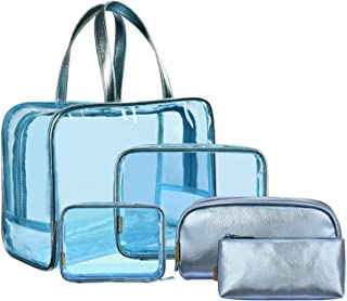 NiceEbag 5 in 1 Clear Makeup Bags Set Travel Cosmetics Storage Bag See Through Transparent PVC Make-up Quart Luggage Carry on Make Up Tools Organizer Toiletry Bags for Women and Girls,Blue
