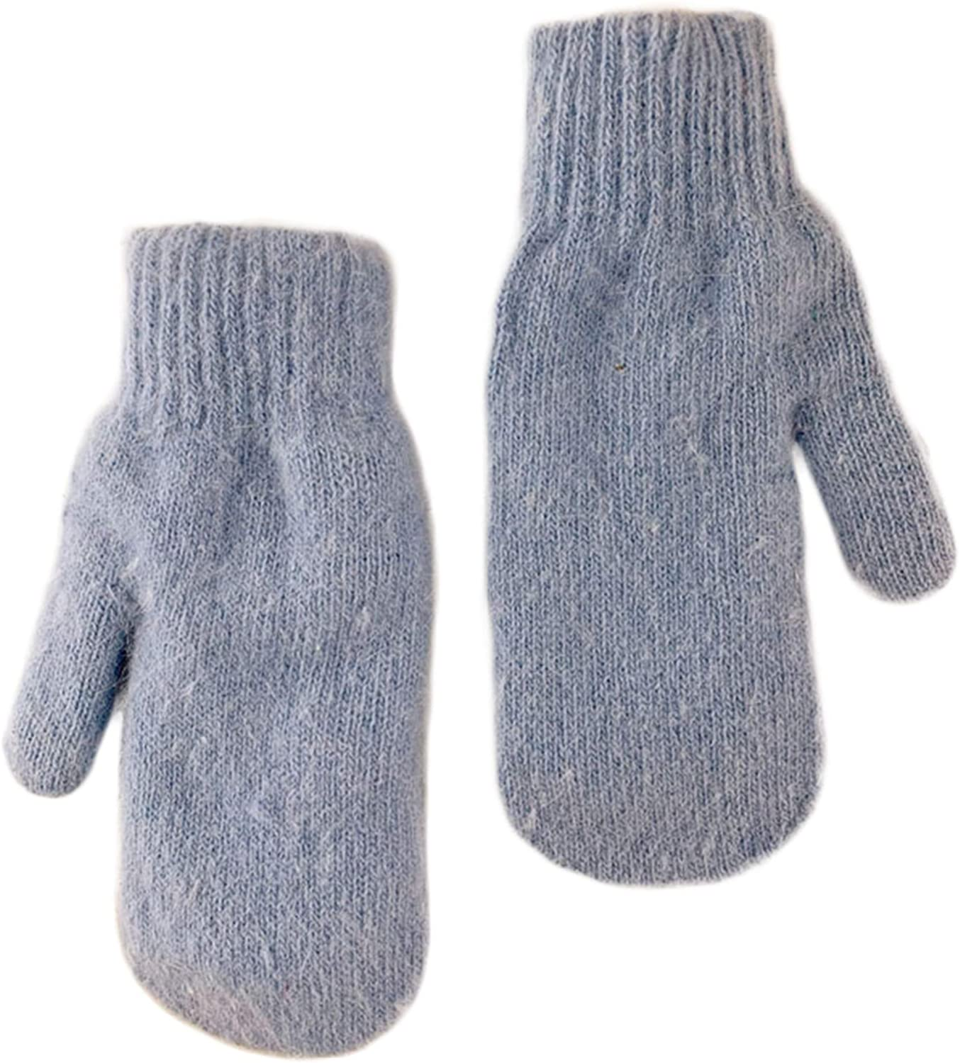 Women Winter Gloves Double Layer Warm Thermal Full Finger Glove Solid Color Stretchy Plush Soft Lining Knit Mitten