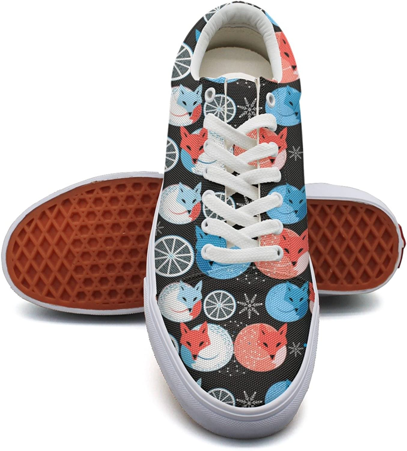 Funny Fox Eating Lemons Womens Fashion Canvas Deck shoes Low Top Exclusive Tennis shoes for Women's