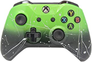 Hand Airbrushed Fade Xbox One Custom Controller Compatible with Xbox One (Green & Black Fade W/Silver Splatter)