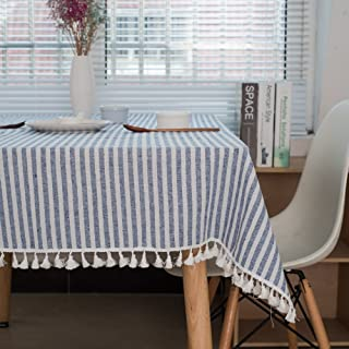 Lahome Stripe Tassel Tablecloth - Cotton Linen Table Cover Kitchen Dining Room Restaurant Party Decoration (Rectangle - 55...