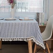 مفرش مائدة مقلم من Lahome - غطاء طاولة من الكتان القطني لغرفة الطعام أو مطعم أو ديكور حفلات (مستطيل - 139.7 سم × 177.8 سم،...
