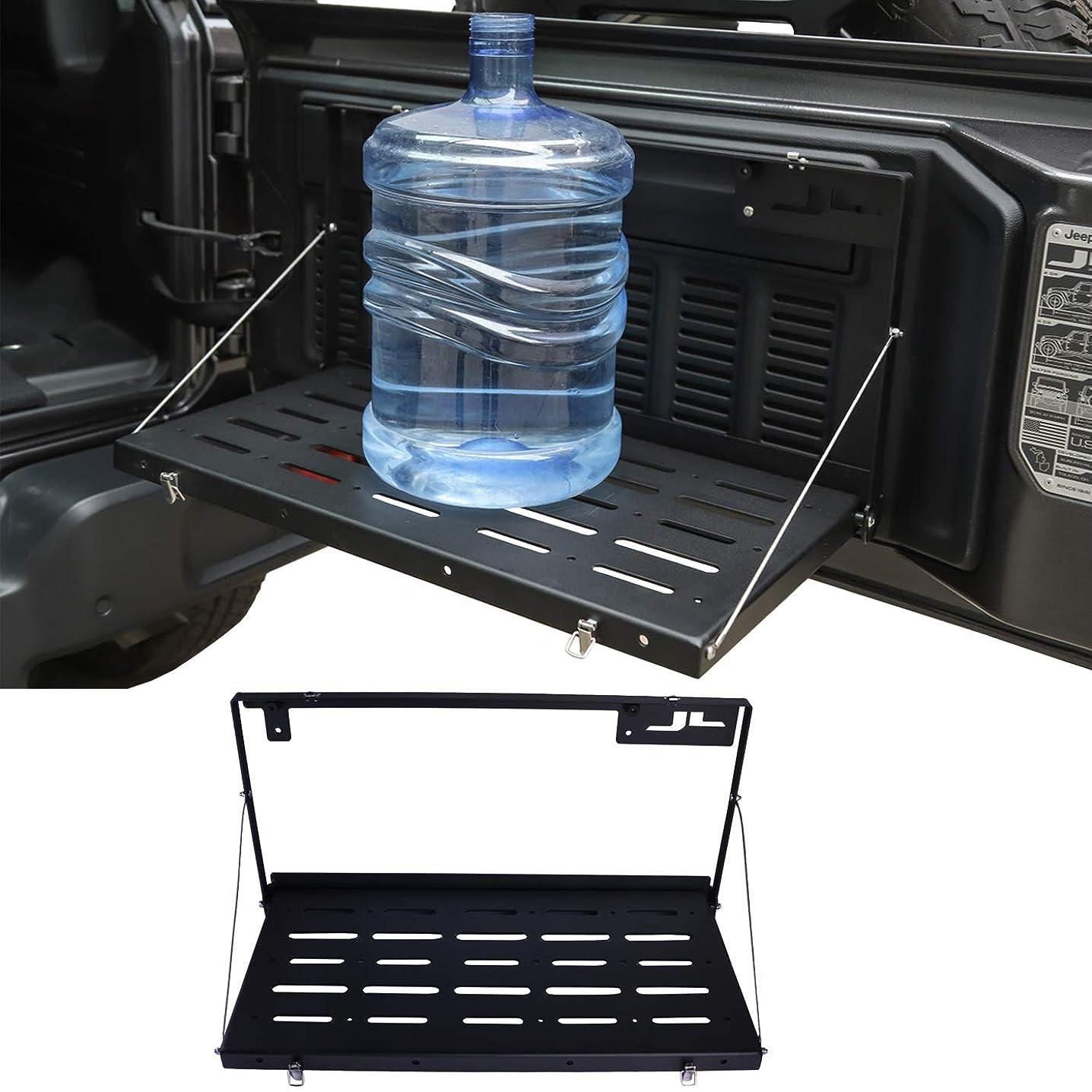 omotor Jeep Wrangler JL Tailgate Table JL Rear Door Table Storage Cargo Shelf Rack Aluminum Alloy Matte Black Rear Foldable Back Shelf fit for Jeep Wrangler JL JLU (Instruction Include)