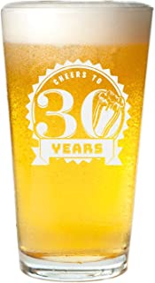 Veracco Cheers To 30 Years Beer Glass Pint 30th Birthday Gift For Him Her Dirty Thirty (Beer Glass)