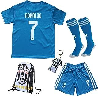 GamesDur 2019/2020 Ronaldo #7 Third Blue Soccer Kids Jersey & Short & Sock & Soccer Bag Youth Sizes