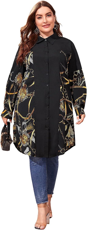 SOLY HUX Women's Plus Size Chain Print Long Sleeve Button Down Shirt Top Blouse